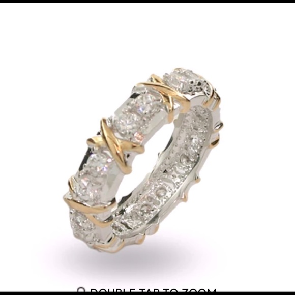 Sterling Silver Hugs & Kisses CZ Eternity Band